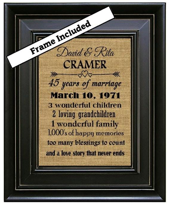 Wedding Gift For 45 Years : Anniversary Gift 45 Year Anniversary Gift Burlap Wall Decor Wedding ...