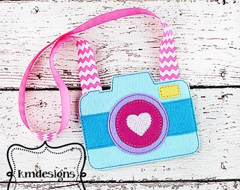Child's Play Felt Camera ITH Embroidery Design file with tutorial  5x7 hoop