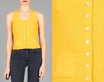 ON SALE Vintage 70s XS Marigold Yellow Knit Vest