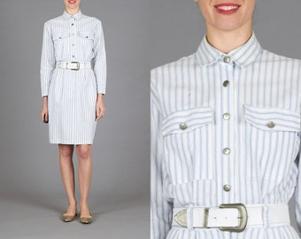 ON SALE Vintage Small Blue & White Stripe Long Sleeve Utilitarian Shirt Dress with White Embossed Belt