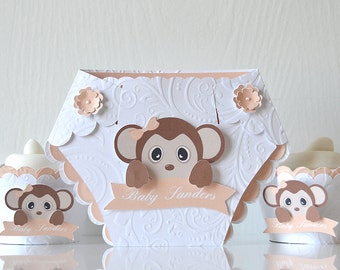 Baby Safari Diaper Invitations: monkey and flowers card, zoo style design, wild animals, furry fuzzy creatures, Baby Shower - LRD018B