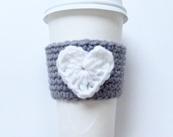 Grey w/ White Heart Coffee Sleeve Cup Cozy Coffee Cozy Mug Cozy