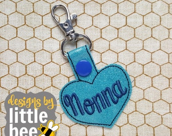 Nonna heart grandma mom Mother's Day love fob snap tab keychain applique embroidery digital file design