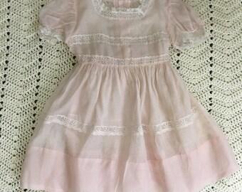 1950's Pink Sheer Dress Girls Size 6
