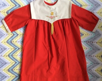 Red 1970's Dress Girls Size 6