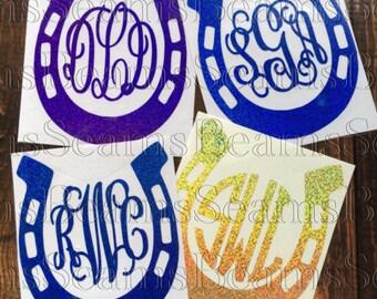 horseshoe decal, Yeti tumbler monogram, tumbler monogram, yeti monogram, yeti decal, glitter monogram, horseshoe monogram, glitter horseshoe
