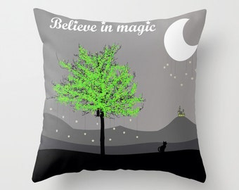 Black Cat Throw Pillow Cover Grey Kids Pillow Nursery Room Green Tree