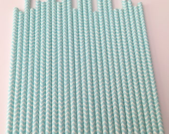 LIGHT BLUE  CHEVRON Paper Straws / Party Straws / Party Decore / Chevron Straws / Paper Party Straws / Baby Blue Straws / Drinking Straws