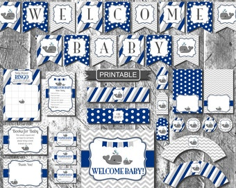Navy Blue Grey Chevron Whale Boy Baby Shower Decorations Package Digital Printable PDFs Instant Download-Welcome Baby