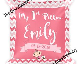 My First Pillow - Girl's First Pillow - First Birthday Pillow - Custom Baby Pillow - Custom Girl Pillow - Its a Girl - Princess Pillow