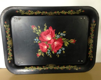 Vintage Red Rose Breakfast Tray, Vintage Metal Tray, Vintage Red Rose,  Black Tin Tray