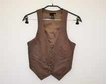 Brown Womens Vest Formal Classic Fitted Brown Waistcoat Steampunk formal Romantic Cotton Medium Size