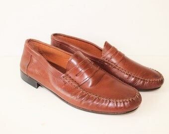 Brown Leather Moccasins Brand VERO CUOIo Mens  Brown Leather Shoes Driving Loafers  Tan Brown Leather Loafers   Size Eu 43 Us 10