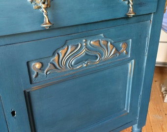 SOLD-EDWARDIAN OAK Sideboard Hand Painted in Annie Sloan Aubusson Blue with Antique Gold Detail and a naturally stained top