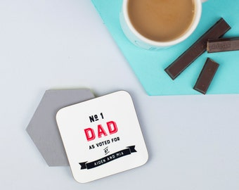 Drink Coaster - Personalized Coaster - Father's Day Gift - Number One Daddy - Drinks Mat - Beer Mat - Birthday Gift - Custom Gift - XOXOGift