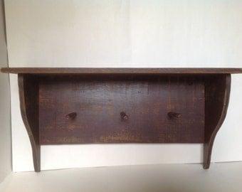 Rustic Wood Shelf/Farmhouse Coat Rack/Country Bathroom Shelf Towel Rack/Shelf With Hooks/Key Holder/Jewelry Organizer