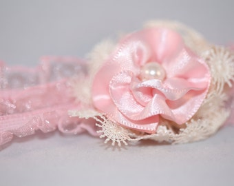 Pink and White Baby Headband (6-12 months)