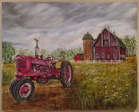 Farmall Tractor Painting : Original farmall h tractor unframed acrylic
