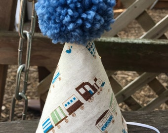 Kid's Fabric Party Hat (train print)