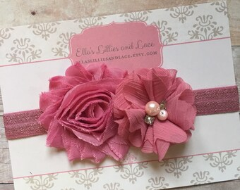 Baby Girl Headband, Shabby and Chic Baby Headband, Dusty Rose Headband, Newborn Headband, Baby Photos, Toddler Headband