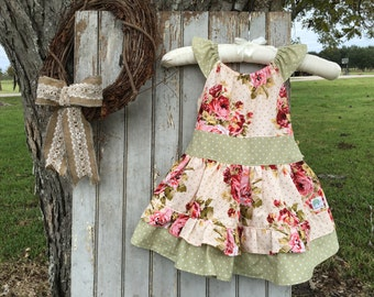 Girls/Toddlers/Babies Floral and Polka Dot Ruffle Dress