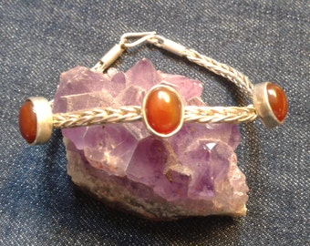 Vintage Silver and Agate Bracelet