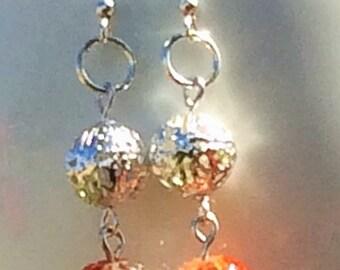 Orange & White dangling earring