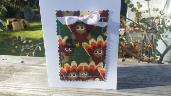 Handmade Thanksgiving Card/Fabric Scrap Thanksgiving Card/Handmade Holiday Card/Handmade Greeting Card/Blank Thanksgiving Card/ Turkey Card