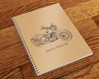 Motorcycle Notebook - A5 | Motorcycle Journal  | Motorbike Notebook | Workshop Notebook | Harley Davidson Fat Boy