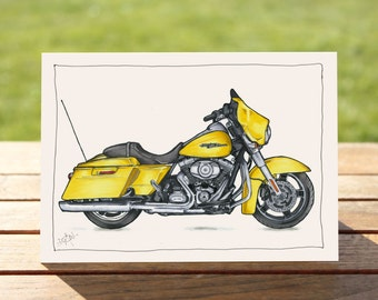 """Motorcycle Gift Card yellow cruiser 