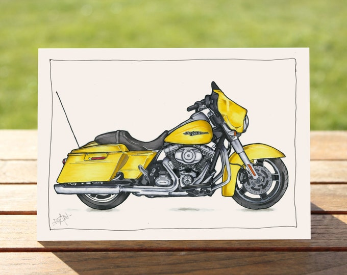 "Motorcycle Gift Card Harley Davidson Street Glide | A6 - 6"" x 4""  / 103mm x 147mm  