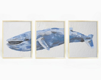 Set of Three Prints, Whale Print Set, Blue Whale Art, Triptych Art, Nautical Art Decor, Painted Whale Print, Watercolor Whale Artwork