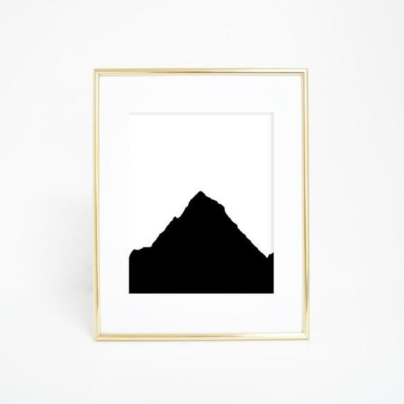 Black and White Mountain Print, Minimalist Wall Art, Mountain Art, Digital Prints, Nursery Prints, Mountain Picture, Minimalist Decor