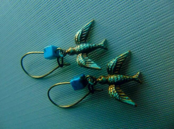 Bird And Turquoise Earrings