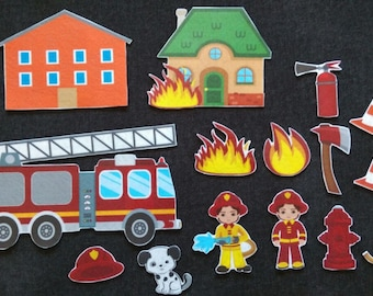 Fireman Felt Board Set// Flannel Board Story Set // Preschool // Kids // Community Helper //