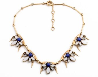 Gold and Blue Crystal Statement Necklace