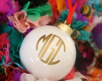 White Monogrammed Christmas Ornament