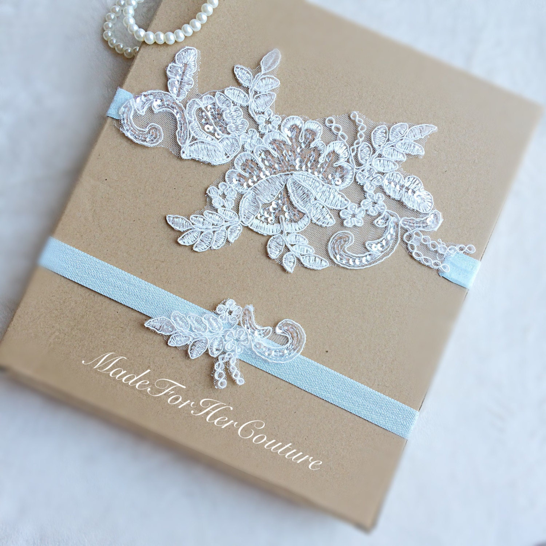 Light Blue Lace Garter Lace Wedding Garter Set Lace Garter