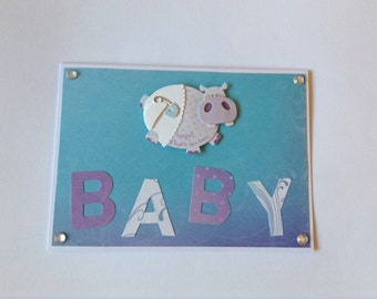 Baby card, Hippo baby shower, new baby congratulations baby card, newborn card, baby shower card, hippopotamus