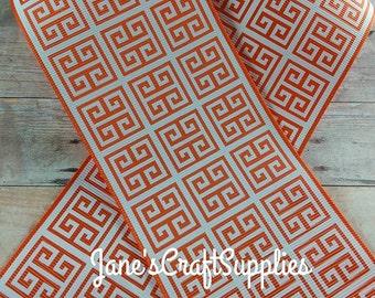 "5 Yards - 3"" Torrid Orange Greek Key Grosgrain Ribbon, Printed Ribbon, DIY Supply, Sewing, Gift Wrapping, 100% Polyester, Cheer Bow Supply"