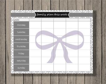Weekly Calendar Printable, Family Plan Printable, Schedule Printable, Family Planner Printable, Weekly printable, Planning printable.