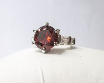 Sterling Silver Synthetic Garnet and Cubic Zirconia Ring