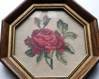 Vintage framed rose needlepoint