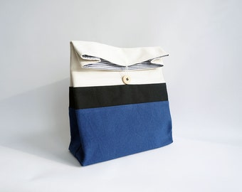 Blue lunch bag for men, Reusable lunch bag, Cotton food bag, Bolsa almuerzos, Sac a lunch, Adult lunch bag for women / Navy blue fabric