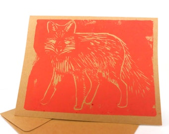 Hand Printed Card -- Red-Orange Fox