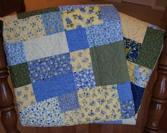 Rectangle and Square Design – LAP QUILT – Blue, Yellow & Green