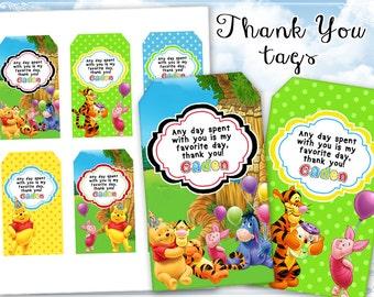 Winnie the Pooh Thank you tags Birthday tags Digital printable tags on Digital collage sheet