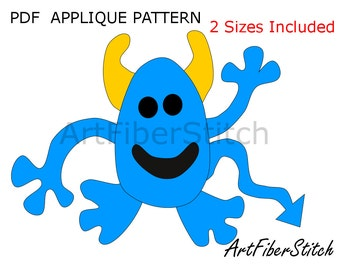 Happy Monster PDF Applique Template Pattern - available for instant download from ArtFiberStitch