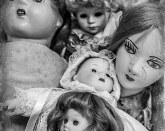Vintage Creepy Dolls, Black & White, Photography Fine Art Print, FREE SHIPPING