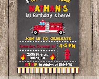 Fireman Invitation, Fire truck invitation, Firefighter Invitation,Firetruck Invitation, Firetruck Chalkboard, Birthday Invitation